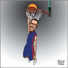 Obama had to work on his 'lay ups' and 'three pointers' before he could be drawn in to passing comment on the Chapel Hill murders.