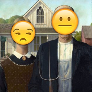 One of contemporary arts most drab paintings is once again enhanced with, emojis